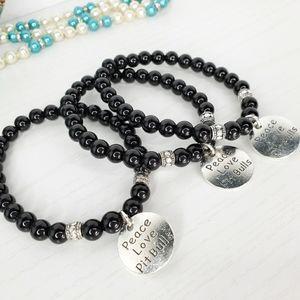 Men's Black Jasper Peace Love & Pitbull Bracelet